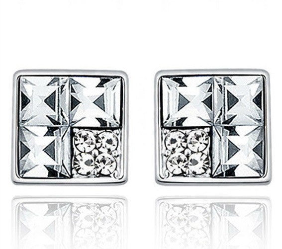 Destiny Jewellery Square earrings with rhodium plating embellished with Swarovski crystals
