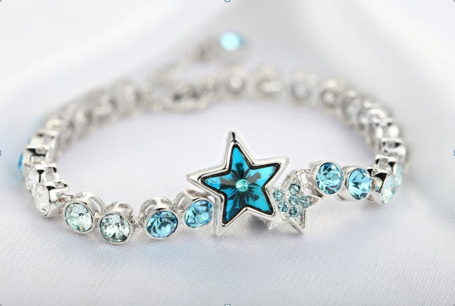 CDE 925 Sterling silver Star bracelet with rhodium plating embellished with Swarovski crystals