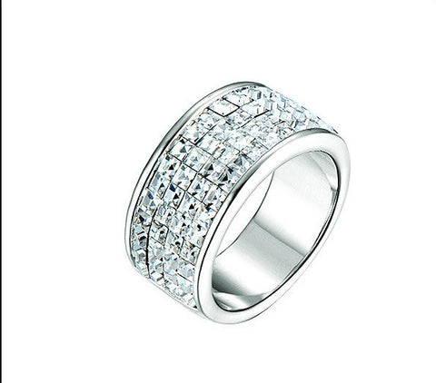 Destiny Jewellery Royalty ring with rhodium plating embellished with Swarovski crystals size 7