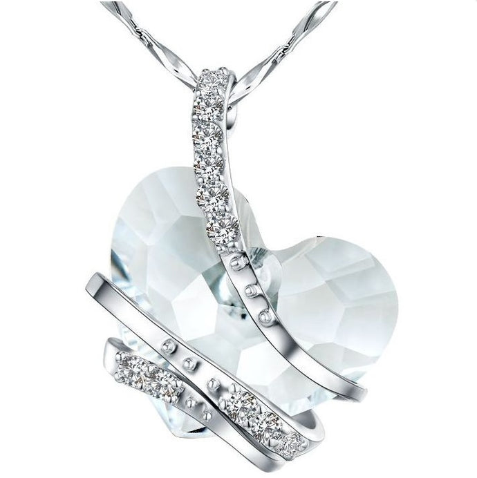 CDE Floating Heart Necklace embellished with Swarovski Crystals