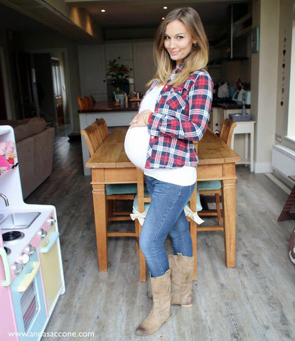 92b26798d9932 For this look, grab your comfiest pair of maternity jeans, classic stretch  tee and wear your favourite plaid shirt open to show off your baby bump.