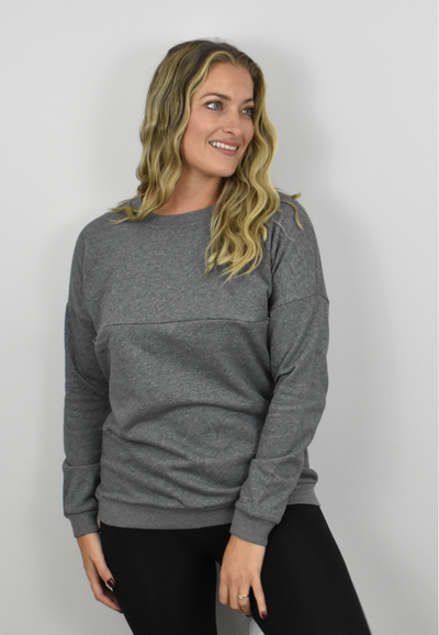 We have created this adorable pullover sweatshirt that's comfortable, maternity friendly, has easy nursing access from both sides.  Maternity clothing Canada.  Nursing clothing Canada.