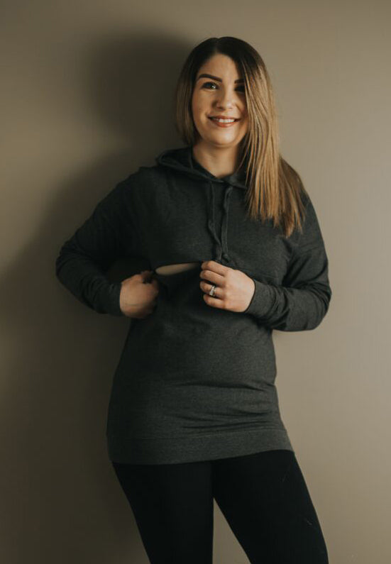 Breastfeeding hoodies.  Affordable maternity clothing. Maternity clothes Canada. Nursing hoodies Canada.