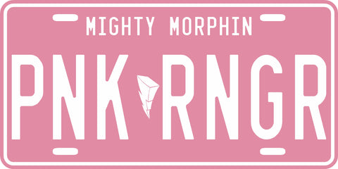 Pink Mighty Morphin' Ranger License Plate