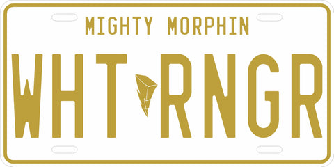 White Mighty Morphin' Ranger License Plate
