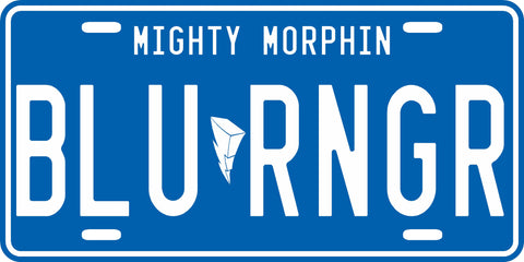 Blue Mighty Morphin' Ranger License Plate