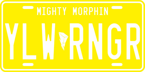 Yellow Mighty Morphin' Ranger License Plate