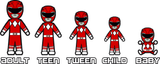MMPR Red - Stick Figure Family