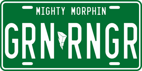 Green Mighty Morphin' Ranger License Plate