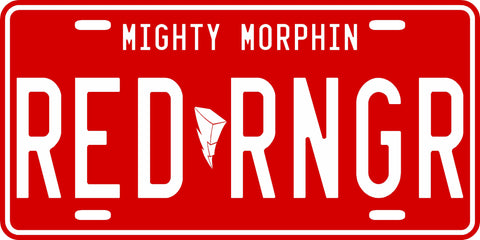 Red Mighty Morphin' Ranger License Plate