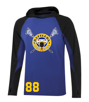 Kamloops Rattlers -  Performance Long Sleeve Hooded Tee - Royal and Black (Booking Only)