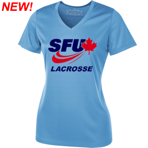 SFU Lacrosse - Ladies V-Neck Primary Logo Performance Shirt - Carolina Blue