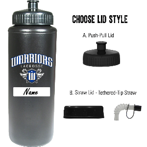Surrey Warriors - 32 oz Sports Bottle - Black - (Limited Stock)