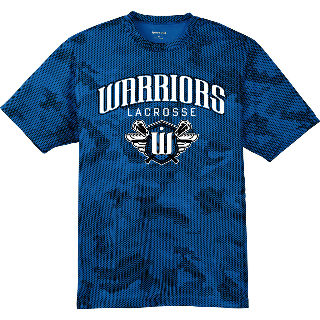 Surrey Warriors - Primary Logo CamoHex Performance T-Shirt - Royal