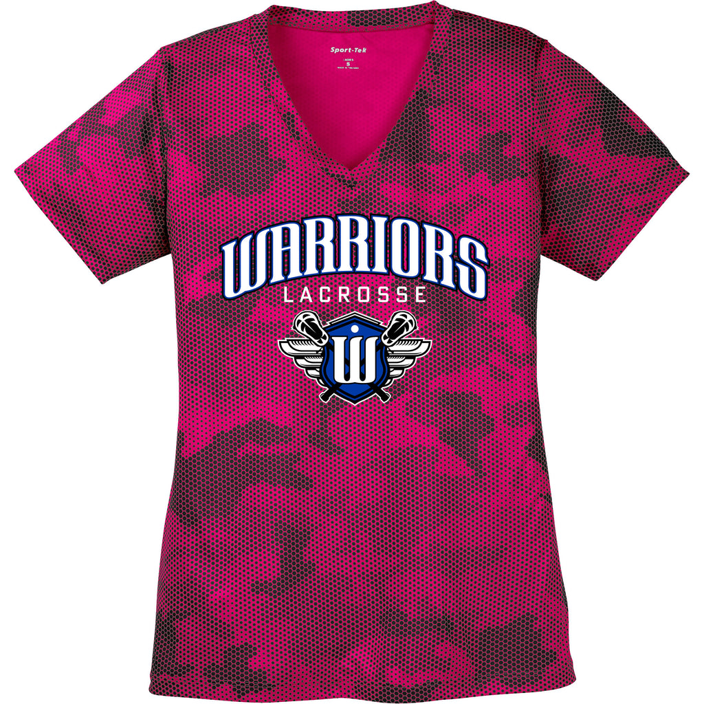 Surrey Warriors - Primary Logo CamoHex Performance T-Shirt - Womens Pink