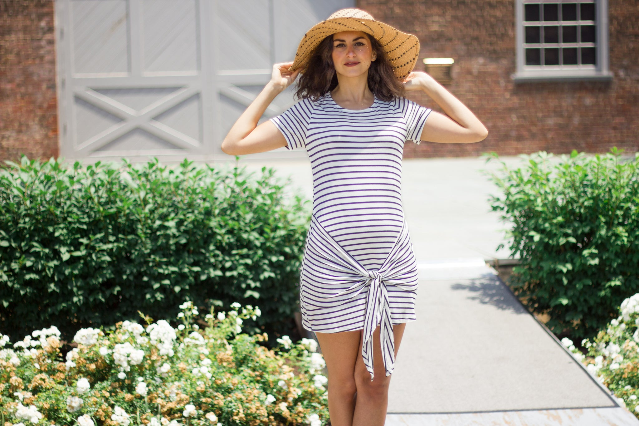 White black stripe dress