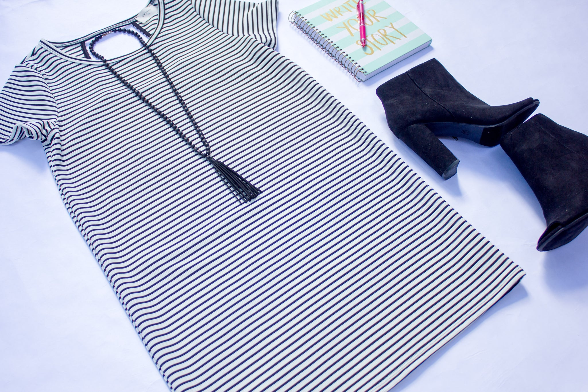 black white stripe dress