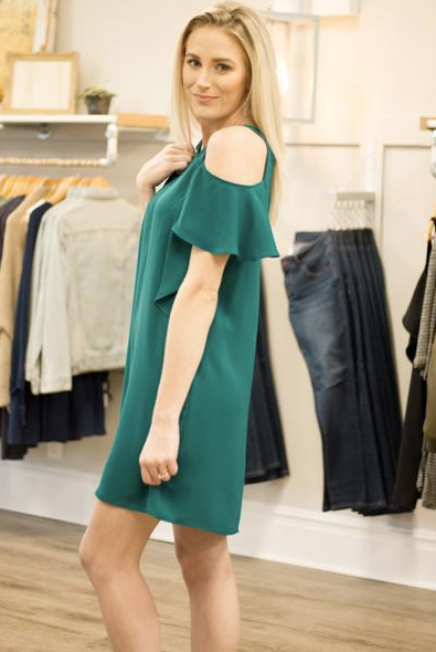 green cold shoulder dress