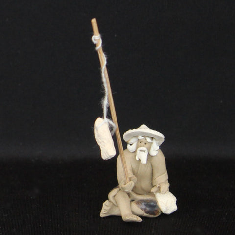 "1"" Fisherman Clay Mudmen Bonsai Figurine"