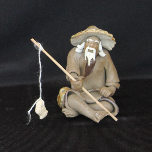 "2"" Fisherman Clay Mudmen Bonsai Figurine"