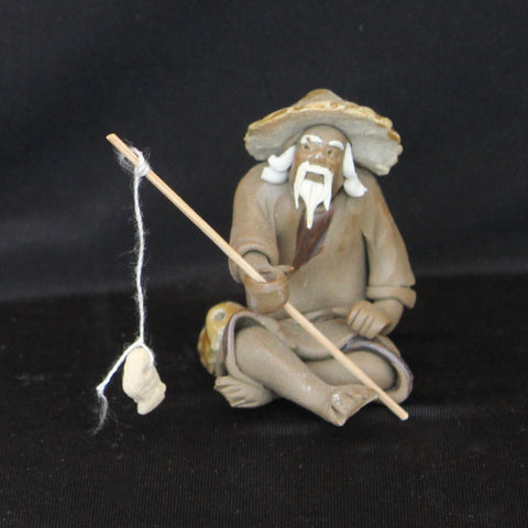 "2""H   Fisherman Clay Mudmen Bonsai Figurine"