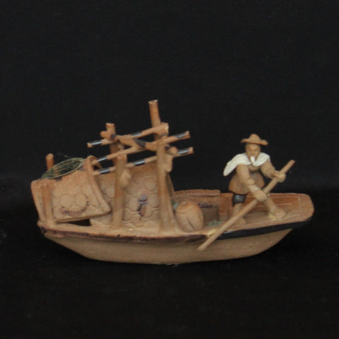 "3"" Brown Junk Ship Clay Mudmen Bonsai Figurine"