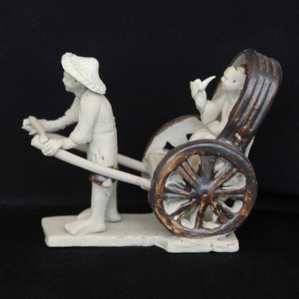 "4"" Rickshaw Clay Mudmen Bonsai Figurine"