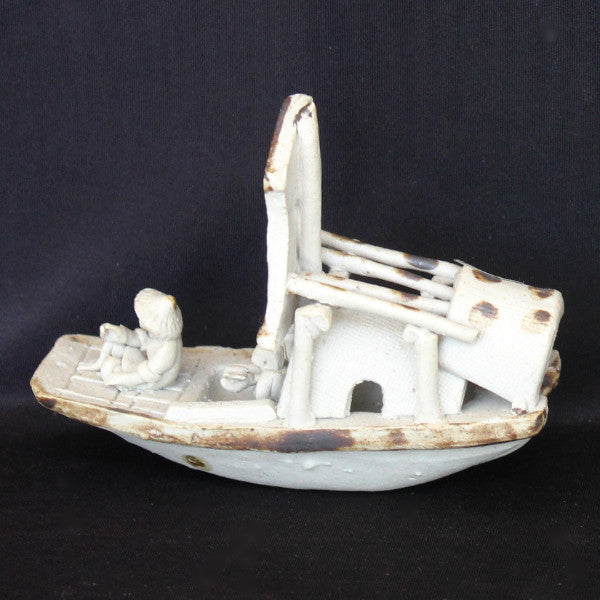 "4"" Gray Junk Ship Clay Mudmen Bonsai Figurine"