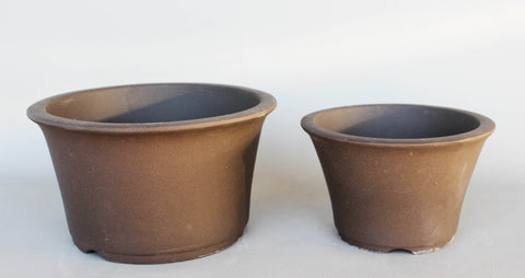 "Japanese #18-01 Brown Clay Unglazed 6.5""D Circle Ceramic Bonsai Pot (2 Piece Set)"