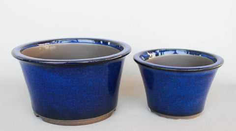 "Japanese #18-02 Royal Blue Glazed 6.5""D Circle Ceramic Bonsai Pot (2 Piece Set)"
