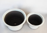 "Japanese #18-03 Creamy White Glazed 6.5""D Circle Ceramic Bonsai Pot (2 Piece Set)"