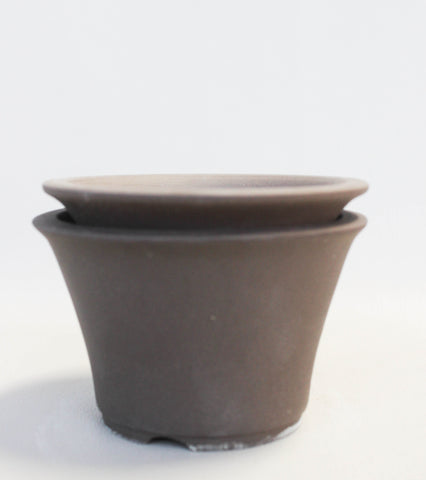 "Japanese #18-04 Brown Clay Unglazed 5""D Circle Ceramic Bonsai Pot (2 Piece Set)"