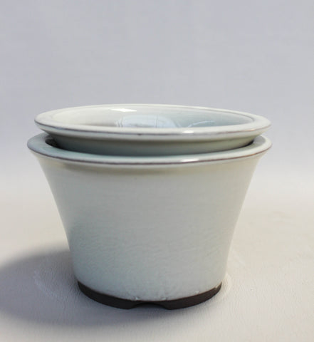"Japanese #18-06 Creamy White Glazed 5""D Circle Ceramic Bonsai Pot (2 Piece Set)"