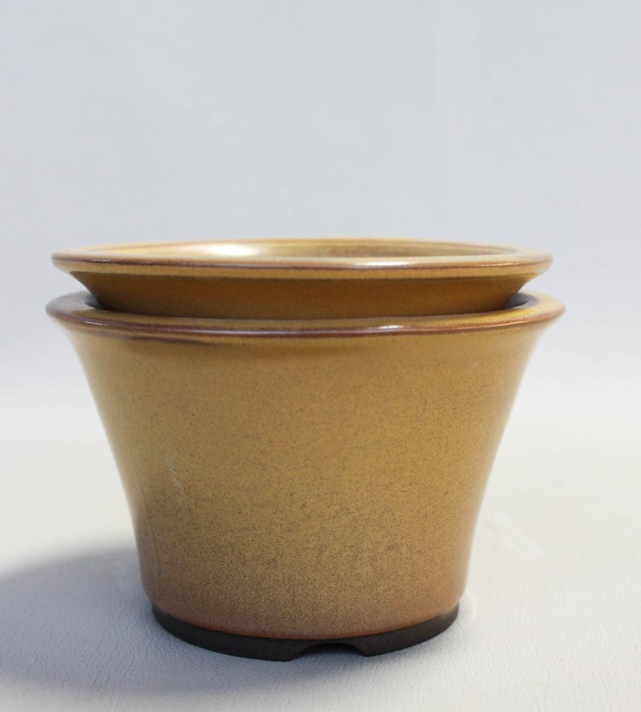 "Japanese #18-8 Mustard Yellow Glazed 5""D Circle Ceramic Bonsai Pot (2 Piece Set)"