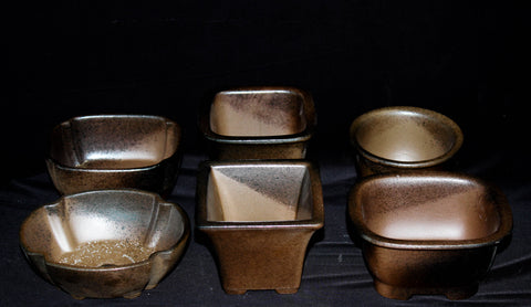 Japanese #26-11 Rustic Brown Glazed Shohin Ceramic Bonsai Pot (6 Piece Set)