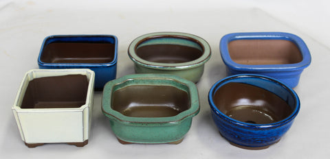 "Japanese  Glazed Shohin & Mame 5"" to 5.5""  Bonsai Pot  6/set, assorted color"
