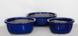 "Japanese #29-11 Royal Blue Glazed 9.25""L Oval Ceramic Bonsai Pot (3 Piece Set)"