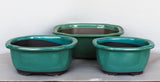 "Japanese #29-13 Olive Green Glazed 9.25""L Oval Ceramic Bonsai Pot (3 Piece Set)"