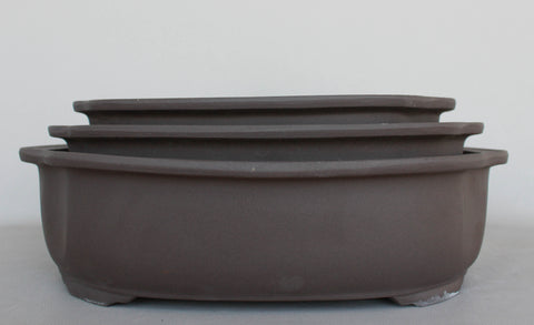 "Japanese #29-14 Brown Clay Unglazed 12.25""L Oval Ceramic Bonsai Pot (3 Piece Set)"
