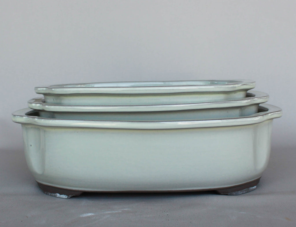 "Japanese #29-16 Creamy White Glazed 12.25""L Oval Ceramic Bonsai Pot (3 Piece Set)"