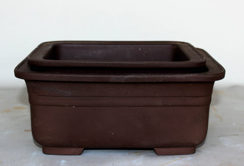 "Japanese #29-18 Brown Clay Unglazed 8.75""L Rectangle Ceramic Bonsai Pot (2 Piece Set)"
