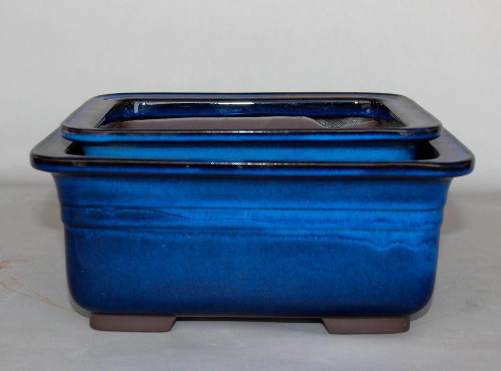 "Japanese #29-19 Blue Glazed 8.75""L Rectangle Ceramic Bonsai Pot (2 Piece Set)"