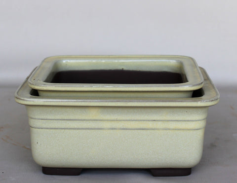 "Japanese #29-20 Olive Green Glazed 8.75""L Rectangle Ceramic Bonsai Pot"