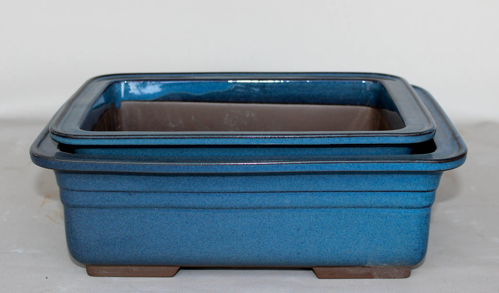 "Japanese #29-23 Sky Blue 10.75""L Glazed Rectangle Ceramic Bonsai Pot (2 Piece Set)"