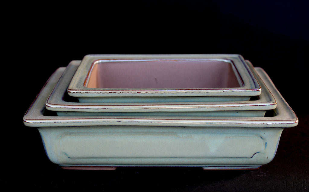 "Japanese #29-03 Light Olive Green Glazed 8.75""L Rectangle Ceramic Bonsai Pot (3 Piece Set)"