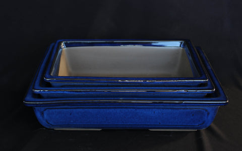 "Japanese #29-4 Blue Glazed 9.5""L Rectangle Ceramic Bonsai Pot (3 Piece Set)"