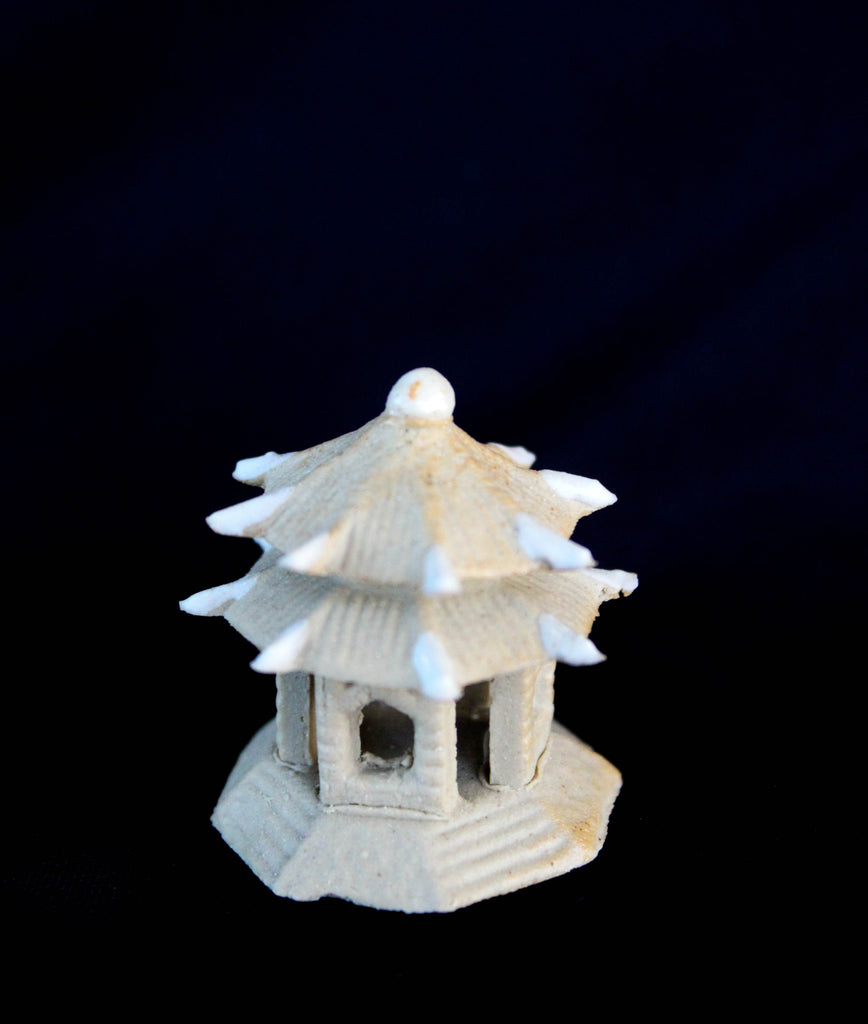 "1.5""L x 1.5""H Double Roof  Pavilion Mudmen Bonsai Figurine"