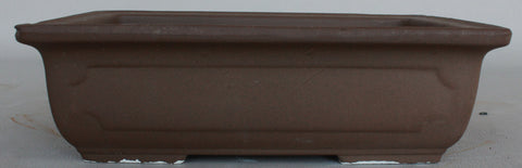 "Japanese #30-37 Brown Clay Unglazed 19""L Rectangle Ceramic Bonsai Pot"