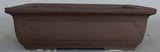 "Japanese #30-35 Dark Brown Clay Unglazed 16.5""L Rectangle Ceramic Bonsai Pot"