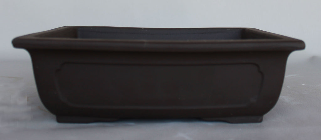 "Japanese #30-30 Dark Brown Clay Unglazed inside 11""L Rectangle Ceramic Bonsai Pot"